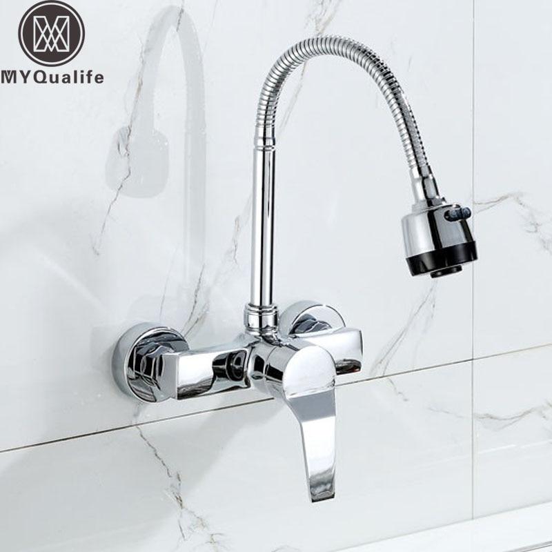 Wall Mounted Stream Sprayer Kitchen Faucet Single Handle Chrome Flexible Hose Kitchen Mixer Taps Dual Holes Free Shipping