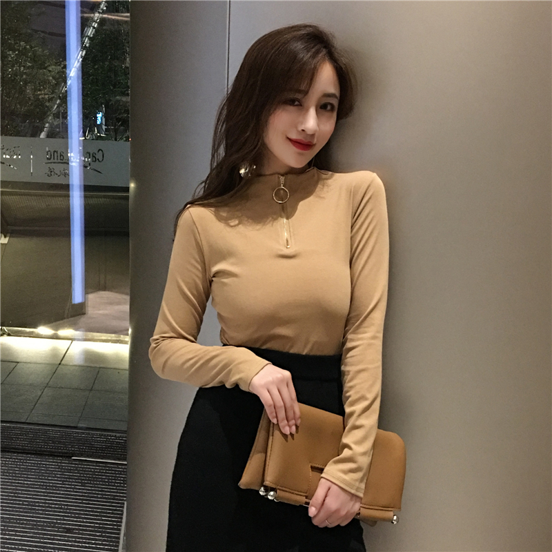 2019 New Spring Fashion Women Shirts Zipper Full Sleeve Turtleneck All Blouse Shirt Khaki Black Red Skin 91181
