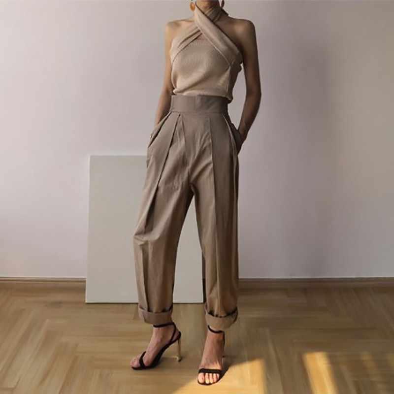 TWOTWINSTYLE מוצק ללא שרוולים סקסי נשים סוודר הלטר כבוי כתף Slim סרוג חולצות נשי אופנה קיץ 2019 חדש גאות