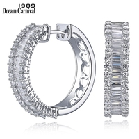 DreamCarnival 1989 Sterling Silver 925 Full Setting Top AAA Cubic Zircon Small Thick Classic Hoop Earrings for Women SE12604