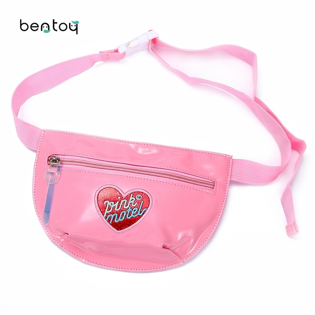 Fashion Leather Women Waist Pack Embroidery Heart Chest Bag Hologram Crossbody Bag For Teenager Girls Fanny Blet Pouch