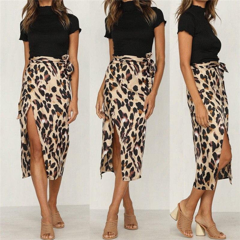 Newest Women Chiffon Leopard Print Maxi Skirt Ladies  High Waisted Summer Long Skirts Fashion Leopard Skirts Womens J