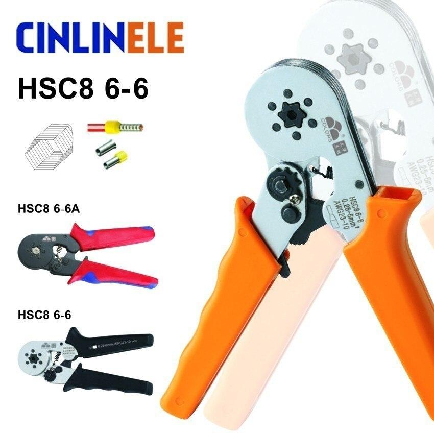 6-6 0.25-6mm 23-10AWG Hexágono y 10S 0.25-10mm 23-7AWG Cuadrilateral Tubo Terminal de Inversión Alicates de Crimpado Herramientas de Mano Crimp HSC8