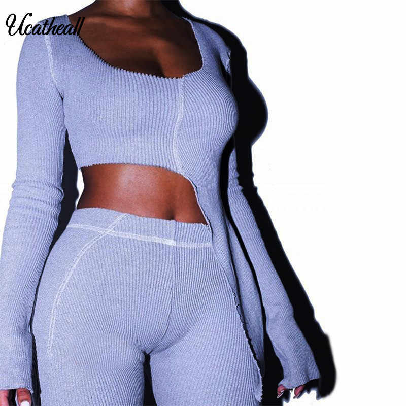 2 Piece Set Women Sweaters Suit Sexy O Neck Sweater Pants Tracksuits Woman Casual Knitted Pants +Tops Women Two Piece Set