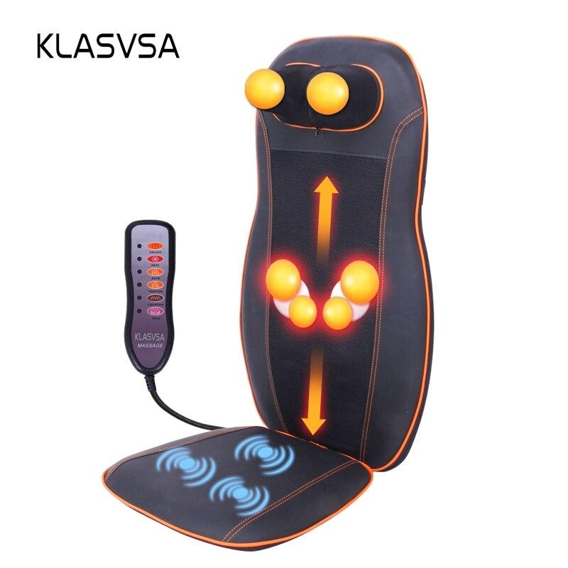 KLASVSA Riscaldamento Elettrico Vibratore Bak Sedia Massaggiatore Shiatsu Impastare Terapia Auto Casa del Collo Lombare Sollievo Dal Dolore Cuscino Pad Relax