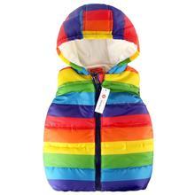 Детский жилет с капюшоном в радужную полоску унисекс; куртка без рукавов с молнией для маленьких девочек и мальчиков; толстовка с капюшоном; жилет с легкой подкладкой; куртка