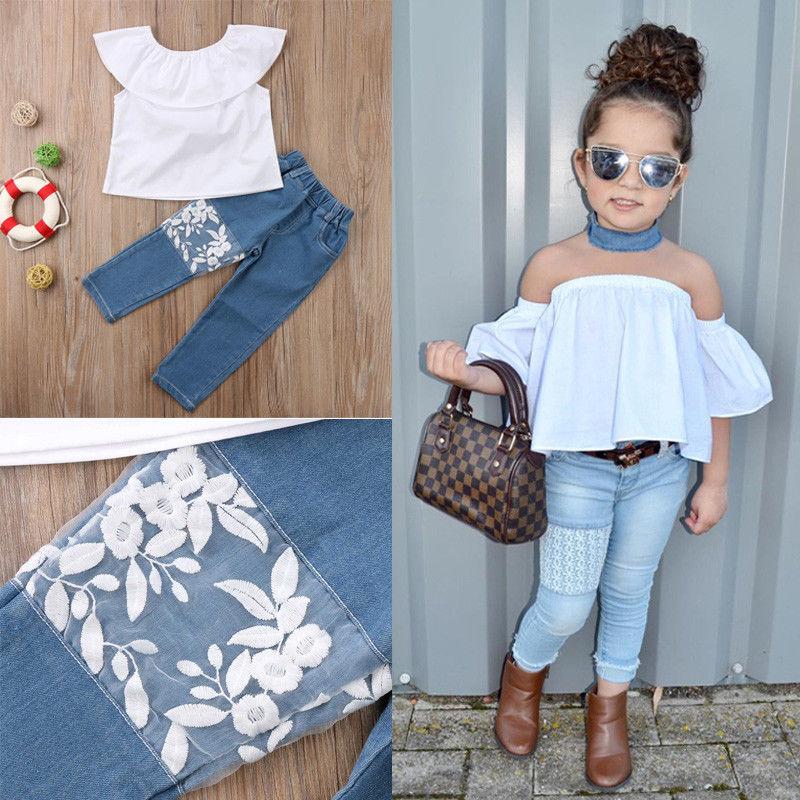 2pcs Fashion Girls Clothing Set 2019 Summer Baby Girls Clothes White Top Ruffles+Denim Floral LacePant Children Clothing Ailing Одежда