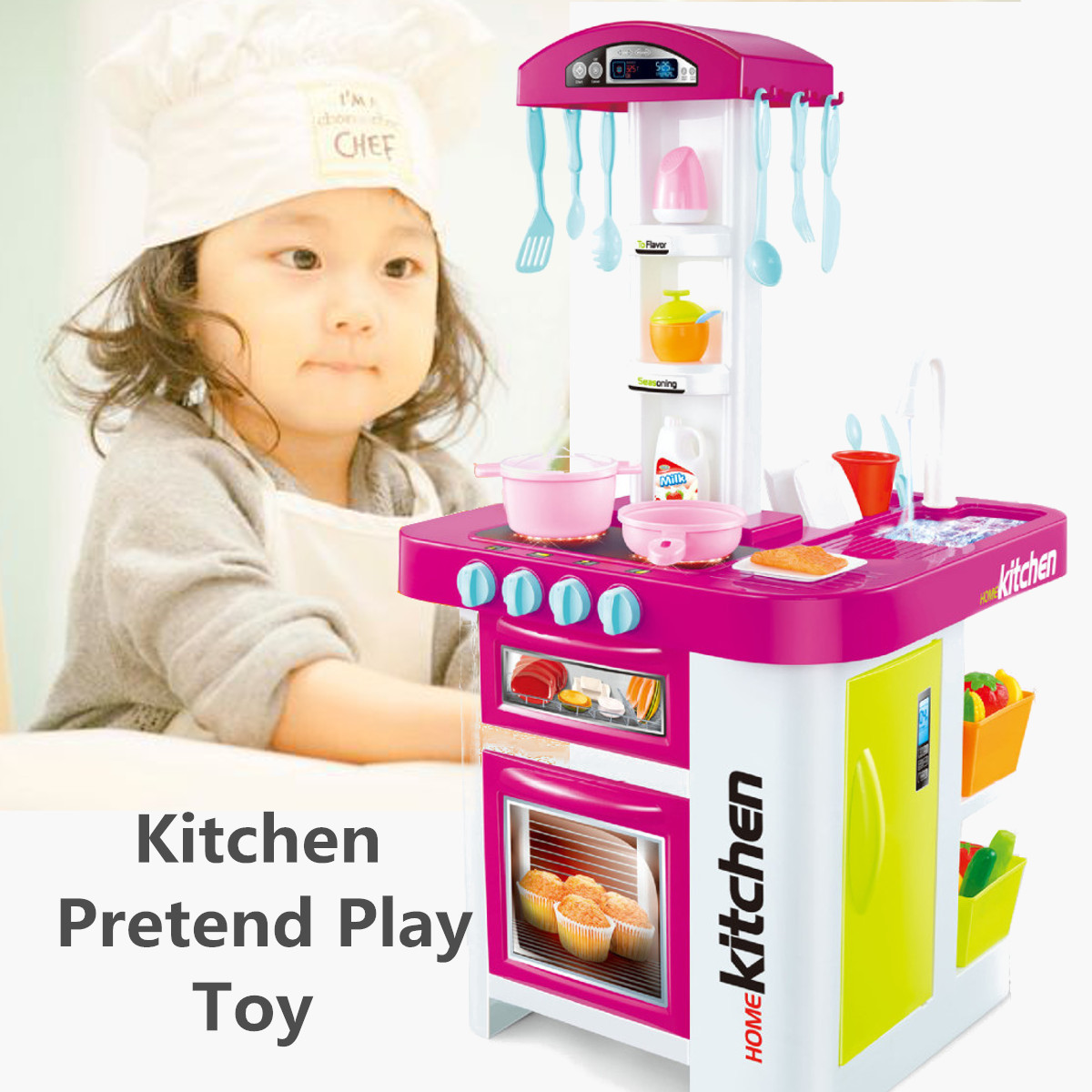 Kids Children Electronic Kitchen Food Pretend Play Cooking Toys Sound Light Set Role Play Kitchen Play Set Toy Pretend Play Kitchen Toys Aliexpress