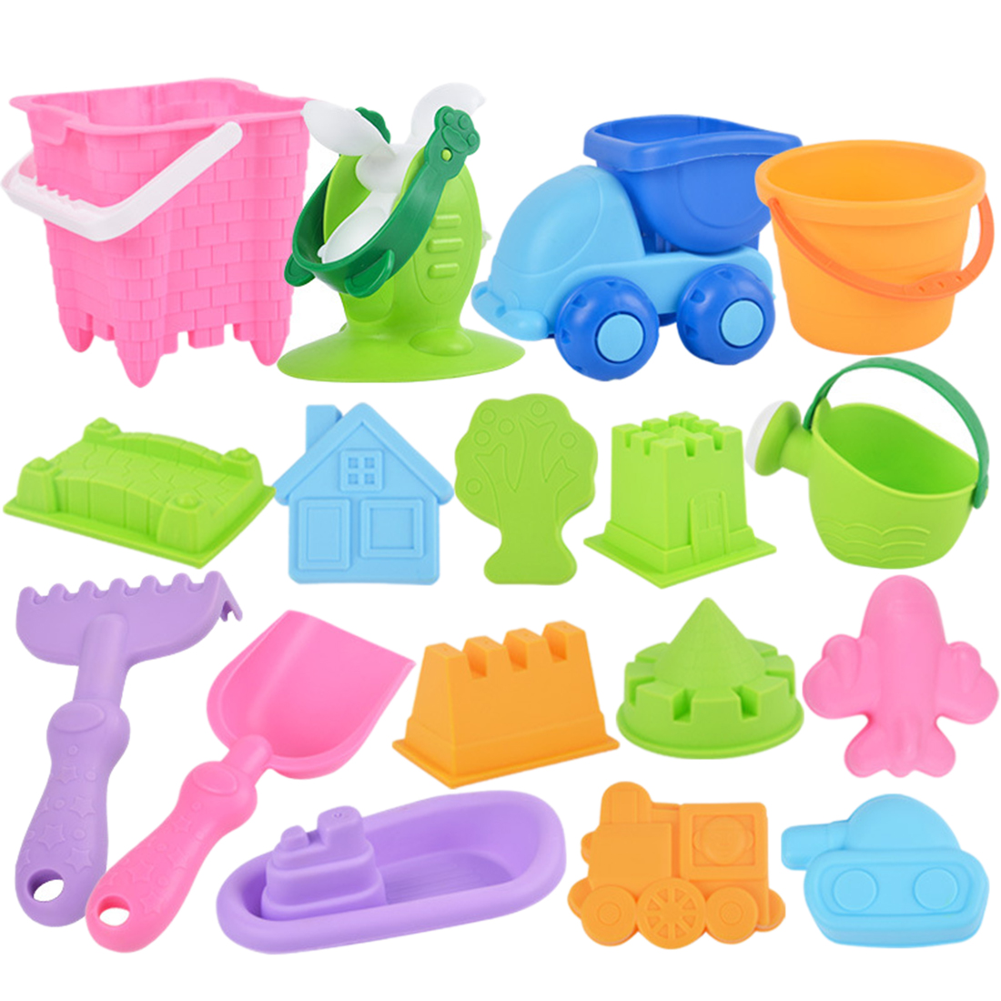 17Pcs Baby Beach Sand Toys Sand Water Playset Seaside Soft Plastic Bucket Shovel Sand Set For Children Kids - Color Random