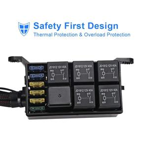 Image 5 - 6 갱 스위치 패널 전자 릴레이 시스템 회로 제어 상자 방수 퓨즈 릴레이 박스 배선 하네스 어셈블리 자동차 Au