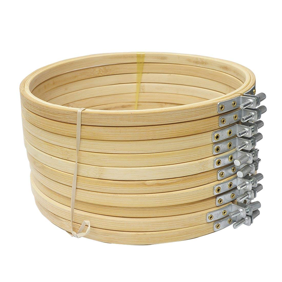 10 Pieces 6.7inch 17cm Round Wooden Embroidery Hoops Set Bulk Wholesale Adjustable Bamboo Circle Cross Stitch Hoop Ring
