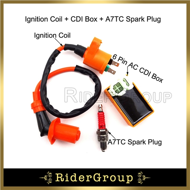 US $12 49 10% OFF| Ignition Coil + 6 Pin AC CDI Box + A7TC Spark Plug For  Chinese GY6 50cc 125cc 150cc Engine Scooter Pit Dirt Bike Moped Scooter -in