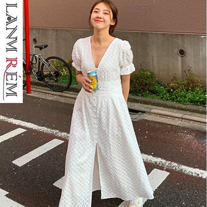 LANMREM 2019 Summer New Clothes For Women Korean Style V neck Single breasted Lantern Short Sleeve Female Dresses QG11200