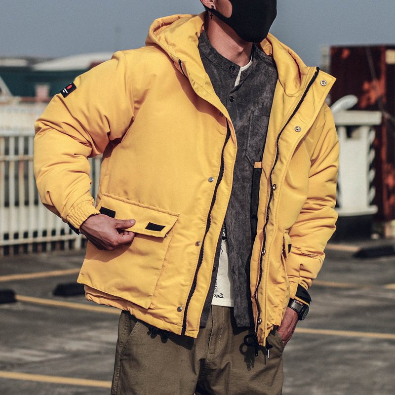 Winter Men's New Loose Cotton Coat Large Pocket Hooded Jacket Yellow Black Powder Windbreaker Parka Men Clothes