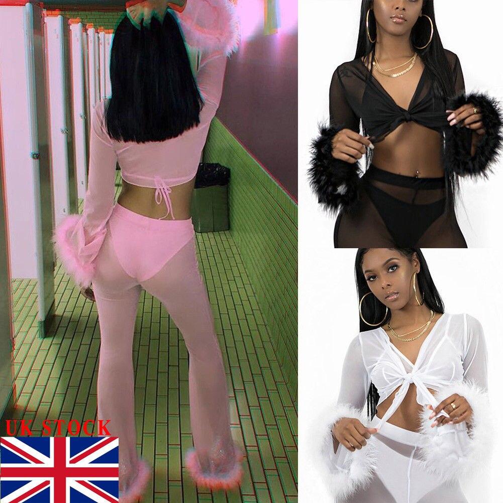 Women Mesh Sheer Bikini Cover Up See Through Knot Crop Top Flared Trousers UK