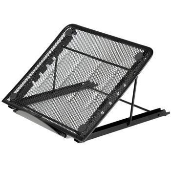 black mesh ventilated adjustable laptop stand for notebook laptop or tablet and more