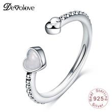 DEVOLOVE Fashion Ancient Love 925 Sterling Silver Luminous Hearts Feature Open R