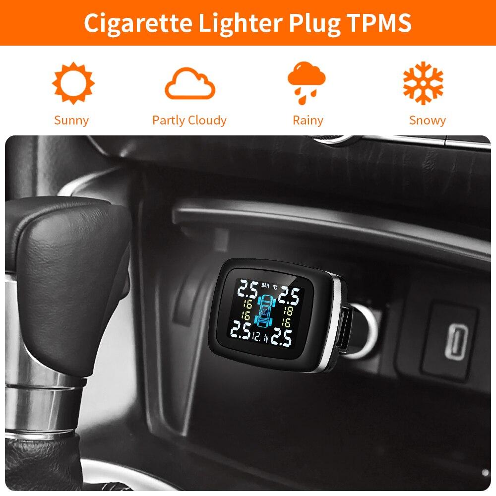 Zeepin C100 TPMS USB Zigarette Leichter Stecker Lcd-bildschirm Tire Pressure Monitoring System Mit 4 Externe Reifen Druck Sensoren