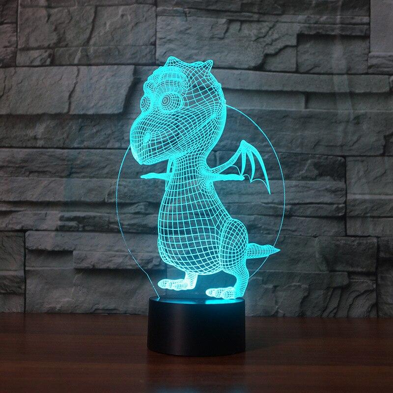 Creative Table 3d Lamp Nightlight Dinosaur Acrylic Ambient 3d  Lamp Visual Stereoscopic Bedside Led Night Light