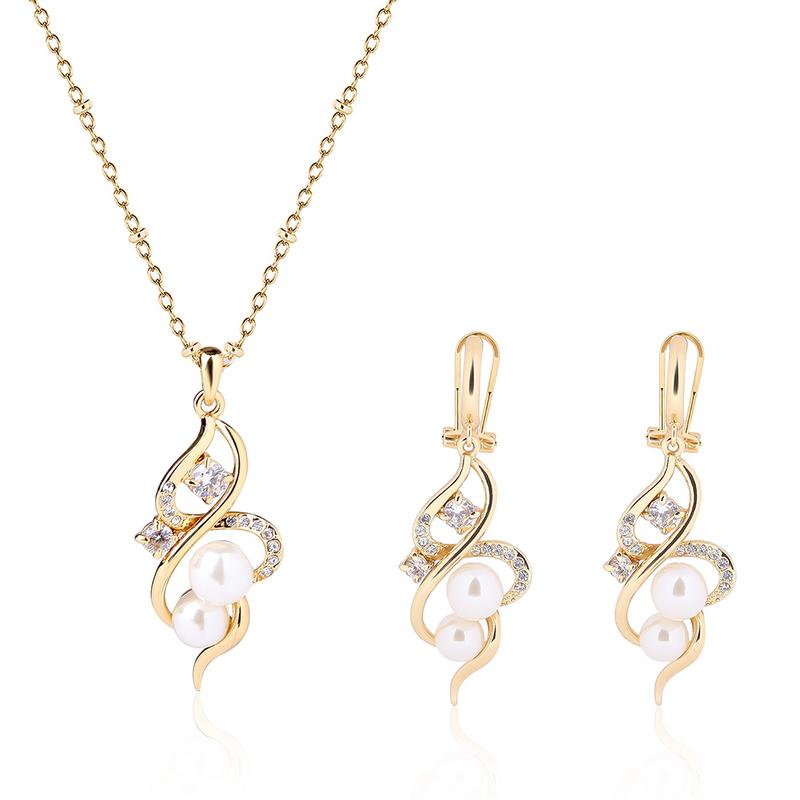 3PCS Elegant Jewelry Set Gold Color Plated Imitation Pearl Rhinestone Pendant Necklace Earrings Women Wedding Party Jewelry