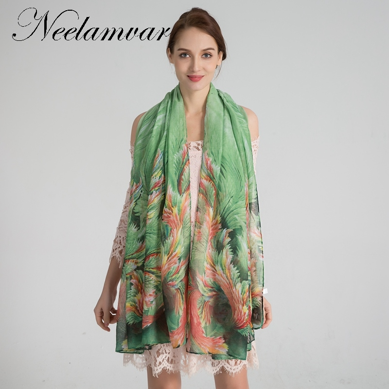 Neelamvar fashion women   scarf   Voile leaves Beauty Print   Wraps   Shawl new Autumn and Winter big size warm cachecol   scarves