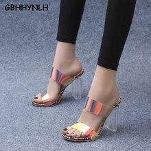купить GBHHYNLH Summer PVC Transparent Sandals Ladies Slippers Fashion Open-toed Gladiator Party Shoes Slides Women Slippers LJA696 по цене 1779.91 рублей