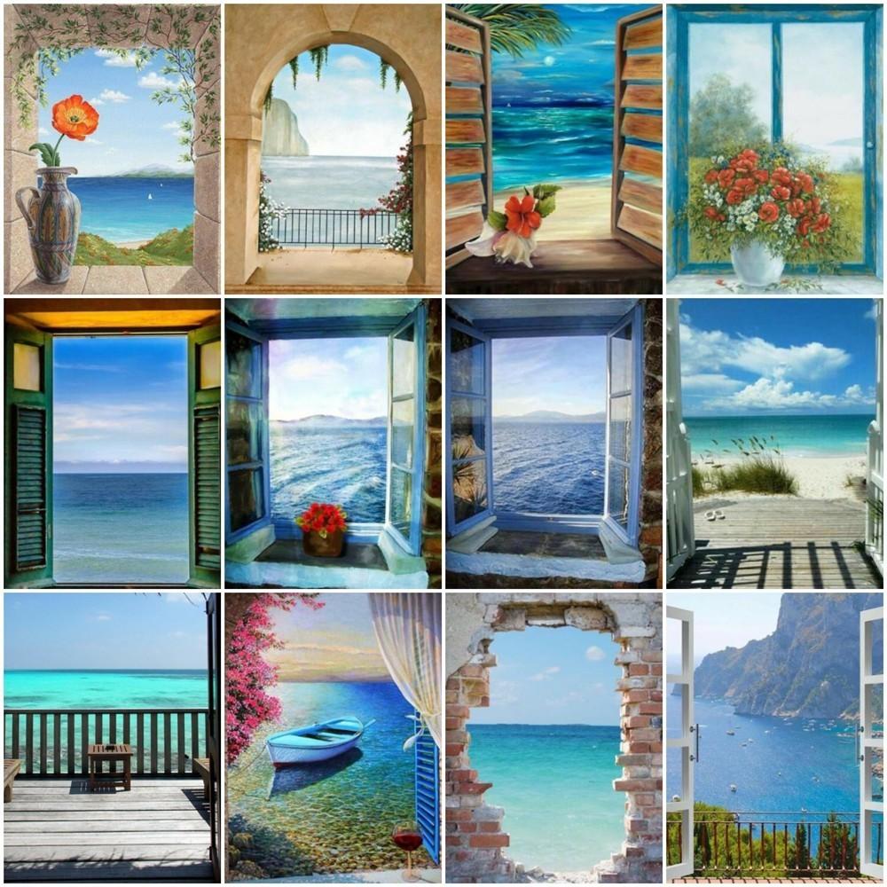 HUACAN 5D DIY Full Square Rhinestones Sea Diamond Painting Landscape Window Diamond Embroidery Cross Stitch Mosaic Home Decor