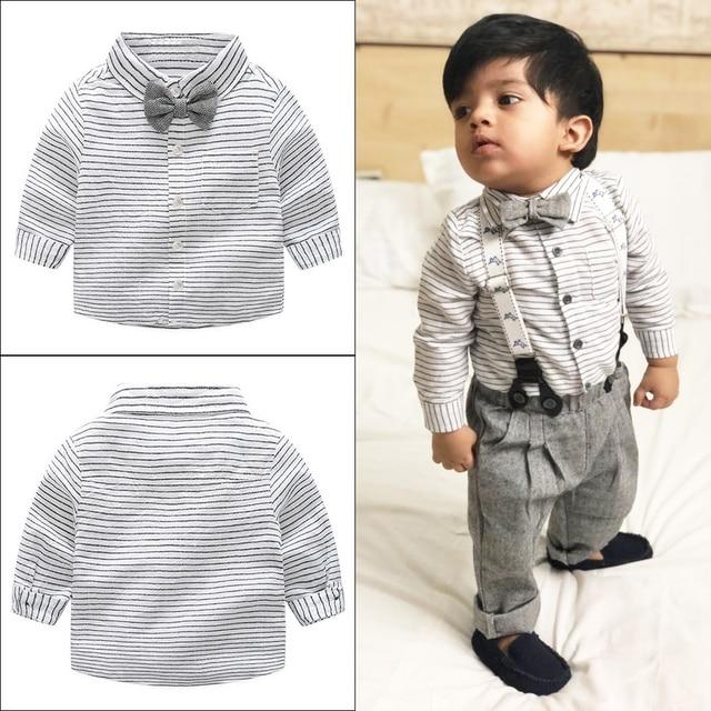 c451d28e21aa2 Newborn Baby Clothes Children Clothing Gentleman Baby Boy Grey Striped  Shirt Overalls Fashion Baby Boy Clothes Newborn Clothes
