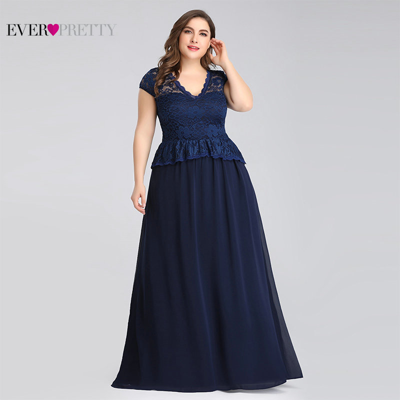 Navy Blue Mother Of The Bride Dresses Plus Size Ever Pretty Elegant A Line V Neck Sleeveless Lace Formal Party Gown Guest Dress