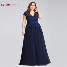 Navy Blue Mother Of The Bride Dresses Plus Size Ever Pretty Elegant A Line V Neck Sleeveless Lace Formal Party Gown Guest Dress long pageant dresses for girls glitz blue a line o neck lace up patchwork sleeveless formal mother daughter dresses for party
