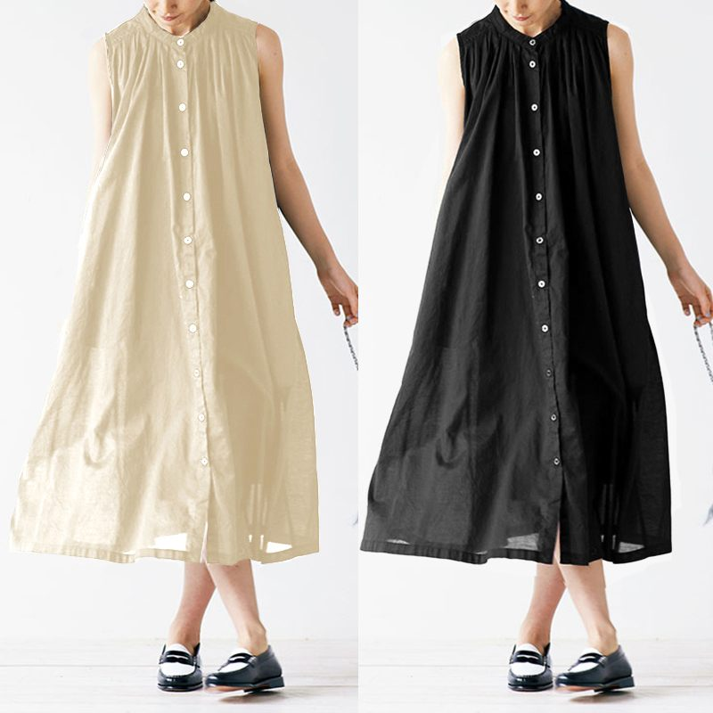 Celmia 2019 Summer Vintage Shirt Dress Women Casual Solid Mid-calf Dresses Buttons Loose Beach Party Pleated Vestidos Plus Size