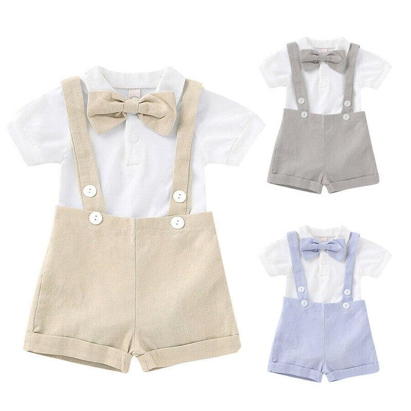 UK Summer Newborn Baby Boy Bow Gentlemen Outfits Romper Tops Shirt Shorts Pants