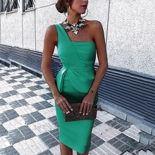 Women Red Green Party Dress Summer 2019 One Shoulder Bodycon Sexy Dress Slim Ladies Plus Size Tunic Midi Dresses For Women 3XL