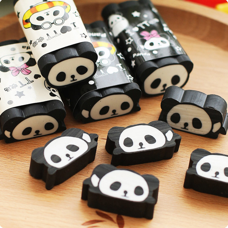 1PC Cute Panda Erasers Cartoon Correction Erasers Kawaii Pencil Erasers  For Kids Gift School Office Supplies Stationery