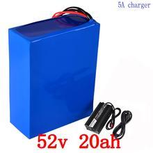 Tax Free 52 В 1000 Вт 2000 Вт Батарея упаковке 52 В 20AH Электрический велосипед Батарея 52 В 20AH литиевых Батарея с 50A BMS и 58,8 В 5A Зарядное устройство