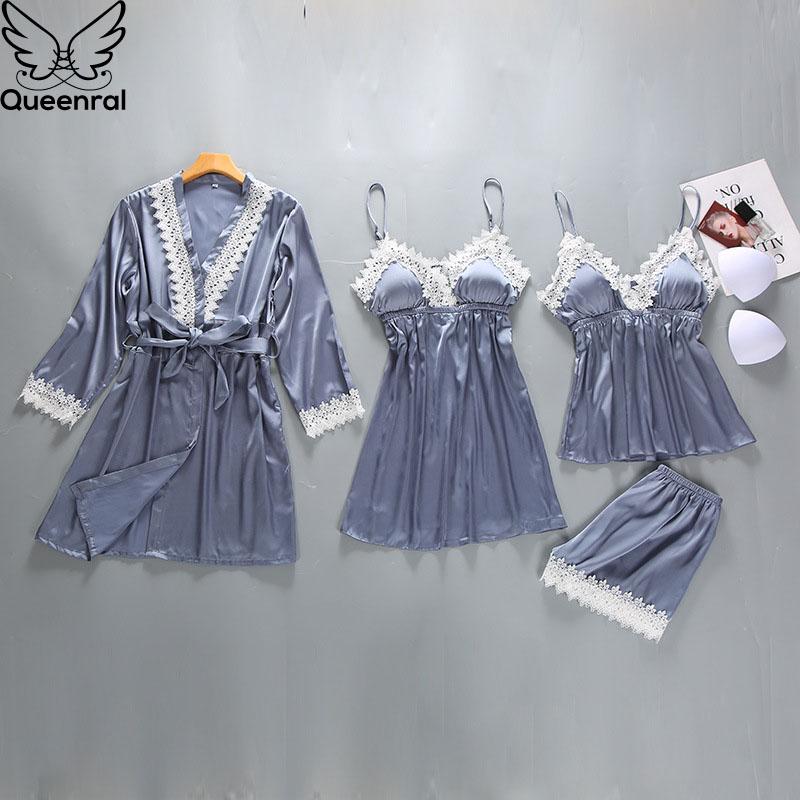 Queenral 4PCS Pajamas Set Satin Sleepwear Female With Chest Pads Pijama Long Sleeve Summer Home Clothing Nightwear Robe Pyjamas