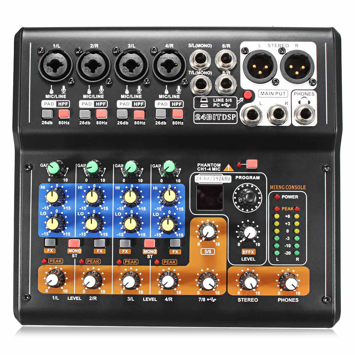8 Channel 48V Professional Mini Portable Mixer Live Studio Audio Karaoke Mixer USB DJ Sound Mixing Console for Family KTV Party professional 4 channel live mixing studio audio sound console network anchor portable mixing device vocal effect processor