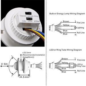 Image 3 - 40mm LED PIR Detector Infrared Motion Sensor Switch with Time Delay Adjustable Light Dark For Home Lighting LED Lamp
