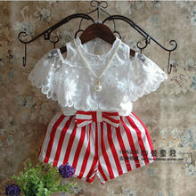 2018 Summer New Princess Girls 2Pcs Clothes Baby Lace Floral Blouse Tops+Red Stripe Shorts Kids Outfits Set