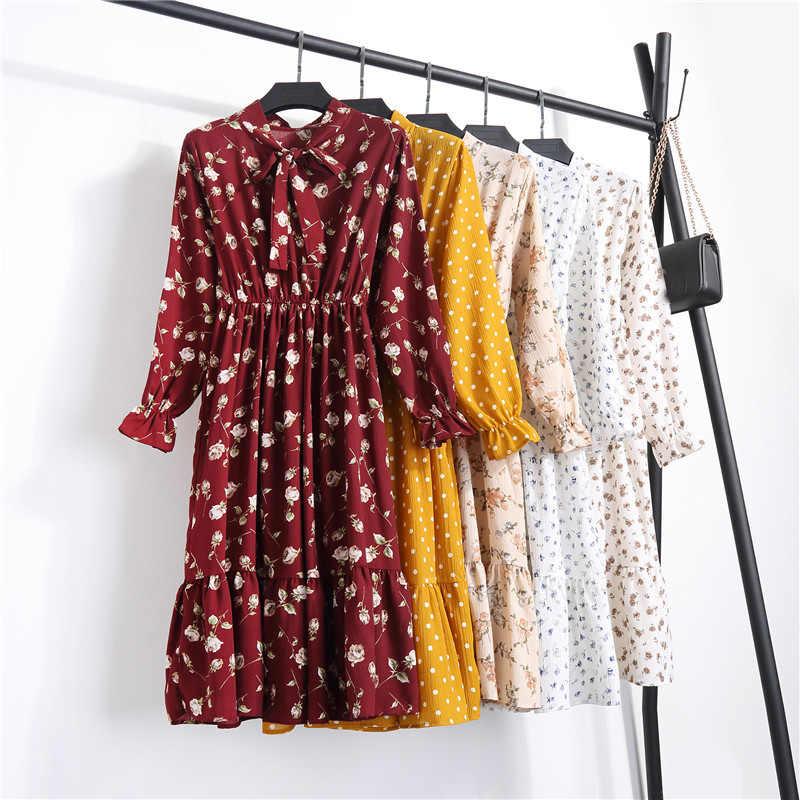 Été coréen en mousseline de soie femmes robe élégante dames Vintage longue robe Boho Floral bureau à manches longues Vestidos vêtements 5LYQ003