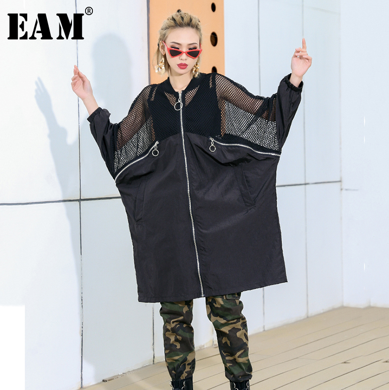 [EAM] 2019 New Spring Summer Stand Collar Long Sleeve Hit Color Mesh Stitch Big Size Windbreaker Women   Trench   Fashion JQ181