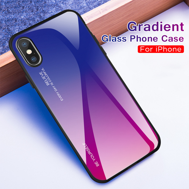ProElite Gradient Color Tempered Glass Phone Case Shockproof Cases Back Protection Cover for iPhone 8 7 6 6S Plus Xs Max X XR