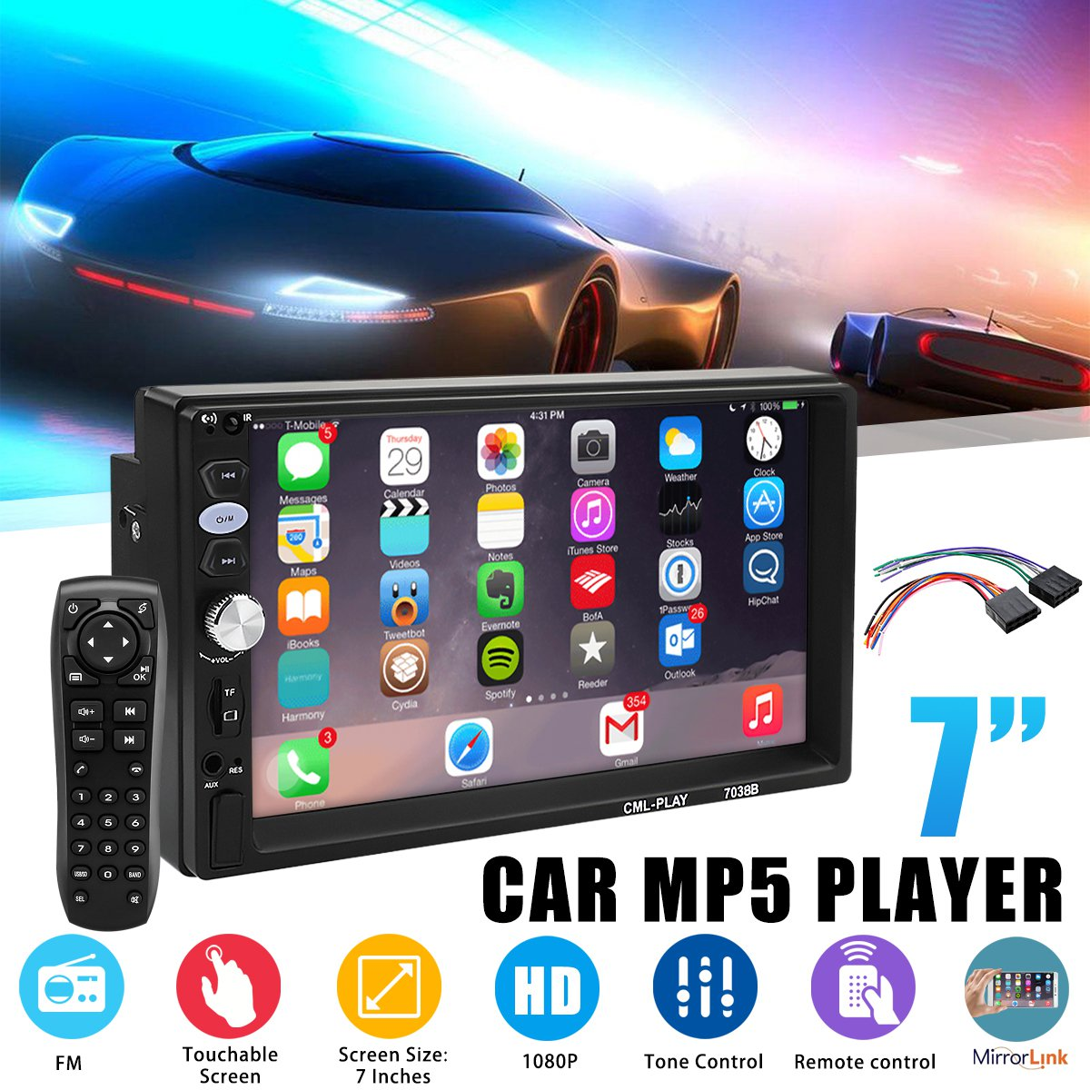 7'' 2 DIN HD Car MP4 MP5 Player FM GPS Navigation Radio Stereo For Touch Screen bluetooth In Dash Mirror Link Multimedia Player
