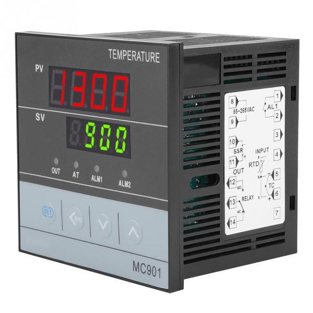 وحدة تحكم رقمية في درجة الحرارة PID مقاومة للماء MC901 K نوع PT100 مستشعر إدخال مرحل خرجات SSR