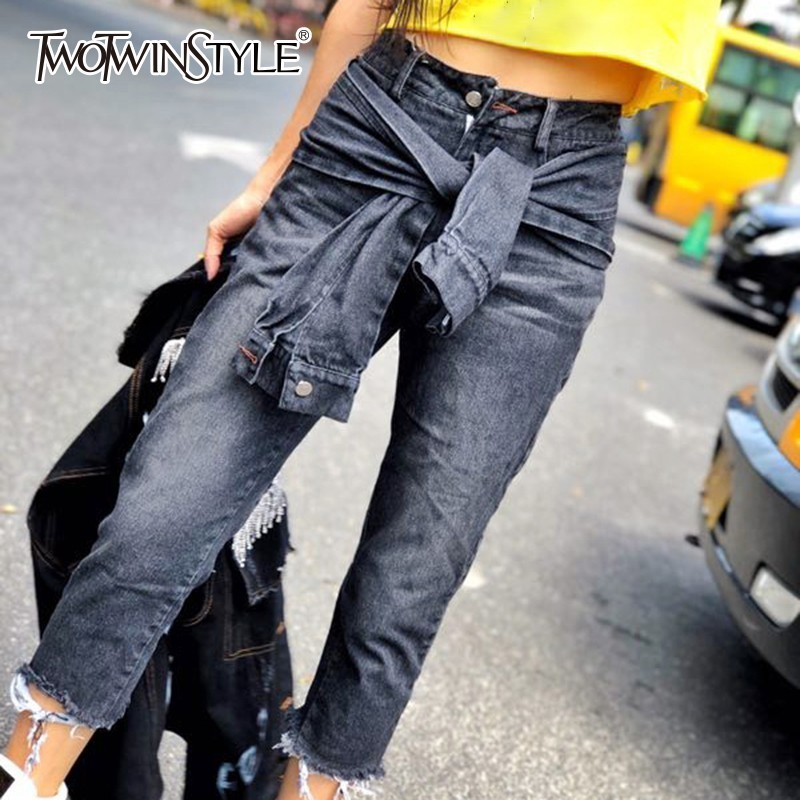 TWOTWINSTYLE Patchwork Denim Trousers For Women High Waist Tassel Ankle Length Pants Fashion Women's Jeans 2020  Autumn New
