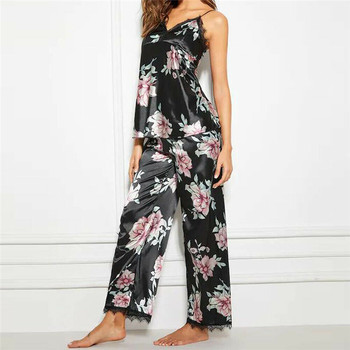 Brand Pajamas Sets For Women Fashion Lace Satin Pijama Summer Floral Nightwear Sexy Lingerie Pyjamas Homewear NEW
