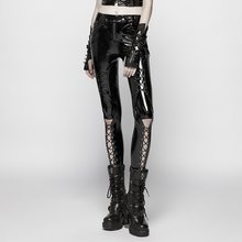 PUNK RAVE Women Punk Pants Fashion Bright PU Leather Knitted Skinny Sexy Hollow Out Streetwear Hip Hop Personality Pencil