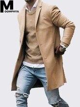 Moomphya 2019 Stylish Long sleeve Wool blends men overcoat Long style windbreaker trench coat men veste homme jacket men outwear