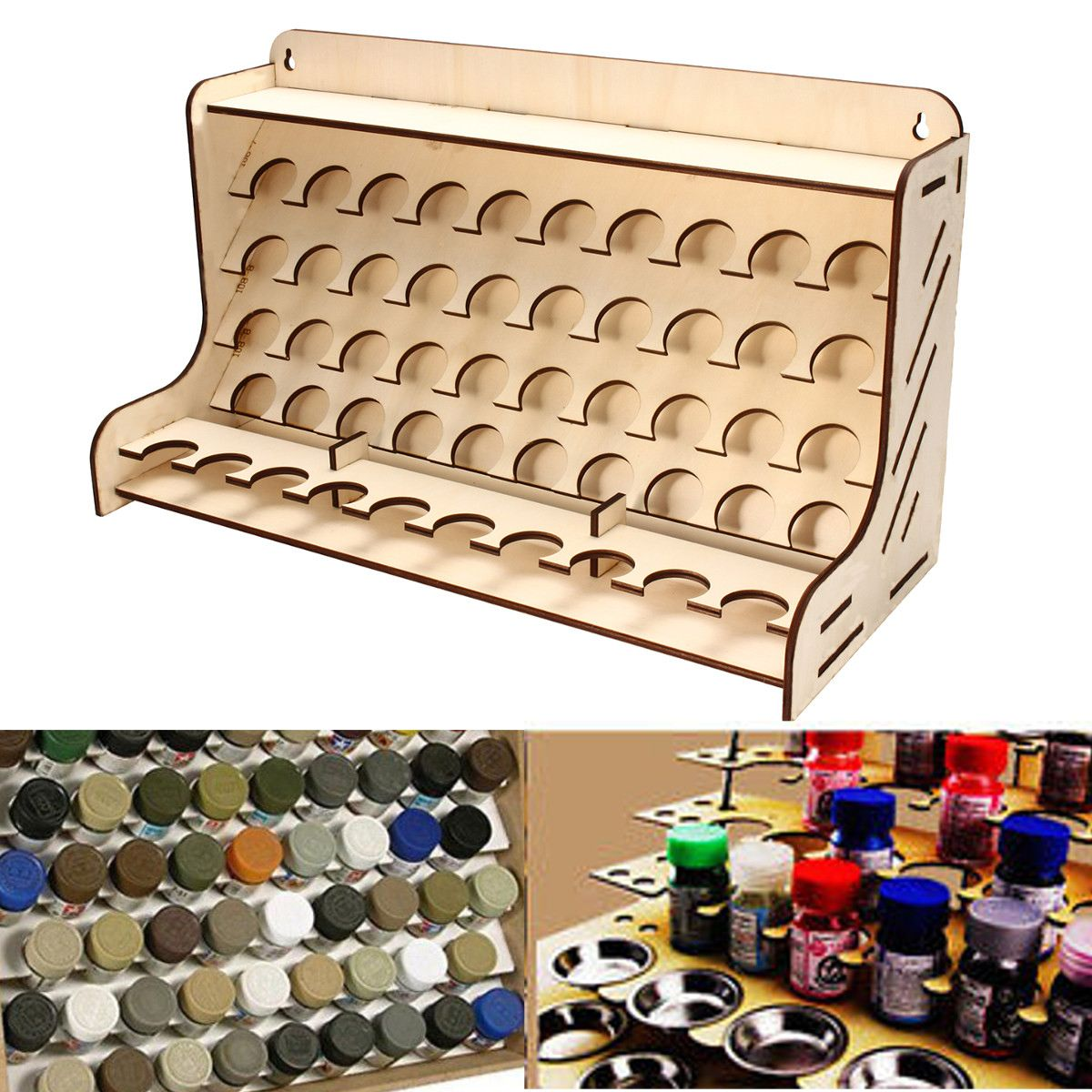 50 Pots Wooden Pigment Bottles Storage Organizer Color Paints Stand Rack Holder Drawing Storage Accessories 48.5x21x28cm
