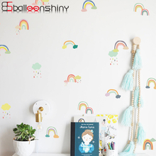 BalleenShiny PVC 24pcs/set Rainbow DIY Vinyl Kids Room Colorful Wall Sticker Nordic Style Dollhouse Nursery Store Mural Decals nordic style hand drawn diy animals head hipsters pvc wall sticker